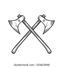 crossed axes isolated over white