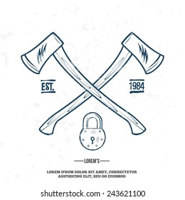 Crossed Axes with Padlock vector t-shirt print