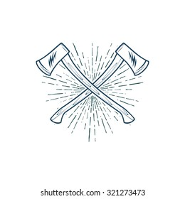 Crossed Axes with sunburst vector t-shirt print illustration