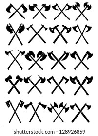 Crossed Axes Vector Collection in White Background