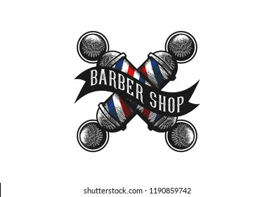 Crossed Barber Pole Logo Designs Inspiration Isolated on White Background