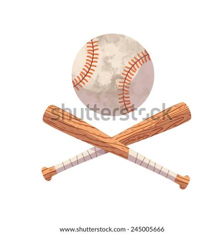 Crossed Baseball Bats Ball Cartoon Flat Stock Vector Royalty Free