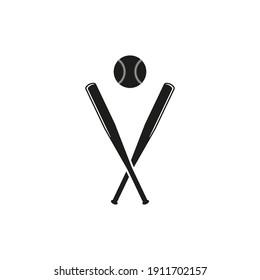 Crossed baseball bats and baseball ball icon. Vector. Flat design.