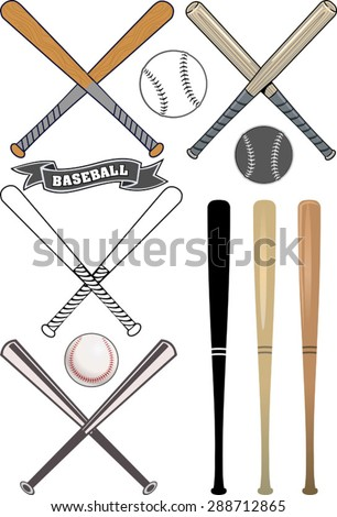 Crossed Baseball Bats Ball Set Stock Vector Royalty Free 288712865