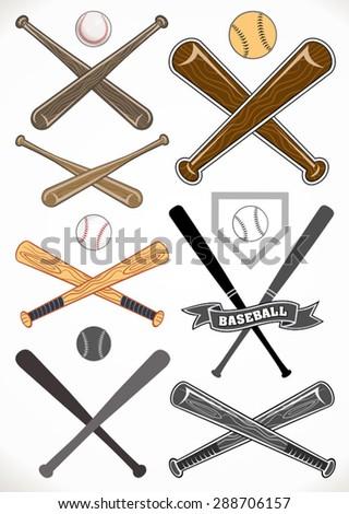 Crossed Baseball Bats Ball Sets Stock Vector Royalty Free