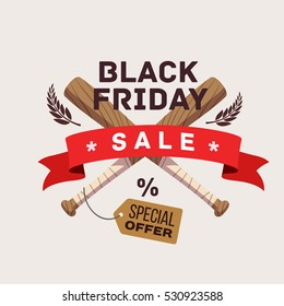 crossed bats icon, Black Friday Sale shopping label, cartoon flat style vector graphic design, isolated image