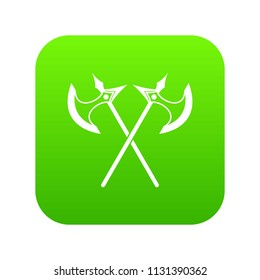 Crossed battle axes icon digital green for any design isolated on white vector illustration