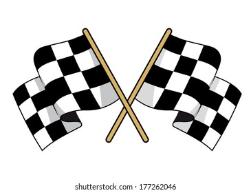 Crossed black and white checkered flags logo with waving fabric conceptual of motor sports, vector illustration on white