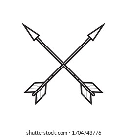 Crossed bow Arrows outline icon on white background. Vector illustration.
