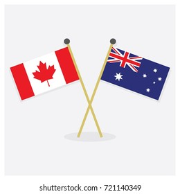 Crossed Canada and Australia flag icons with shadow on off white background