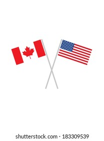 Crossed Canadian and American Flags - Vector