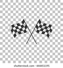 Crossed checkered flags logo waving in the wind conceptual of motor sport. Dark gray icon on transparent background.