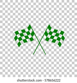 Crossed checkered flags logo waving in the wind conceptual of motor sport. Dark green icon on transparent background.