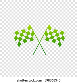 Crossed checkered flags logo waving in the wind conceptual of motor sport. Vector. Green gradient icon on transparent background.