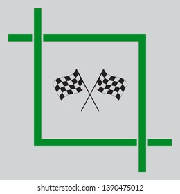 Crossed checkered flags. Motor sport. Black icon inside green crop tool at light gray background