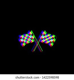 Crossed checkered flags. Motor sport. Red, green and blue unfocused contour icon at black background. Illustration.