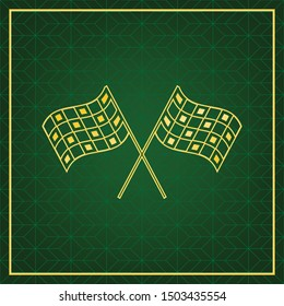 Crossed checkered flags. Motor sport. Golden icon with gold contour at dark green gridded  background. Illustration.
