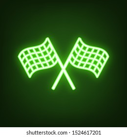 Crossed checkered flags. Motor sport. Green neon icon in the dark. Blurred lightening. Illustration.