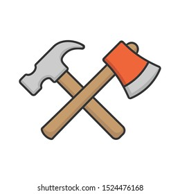 Crossed claw hammer and axe icon, Construction hardware symbol, Woodworking sign