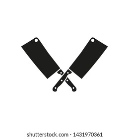 Crossed cleaver knifes icon. Two crossed knifes silhouette. Vector.