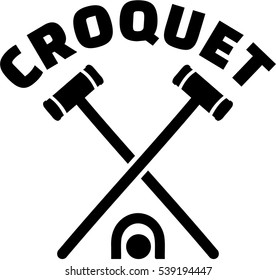 Crossed croquet mallets with word