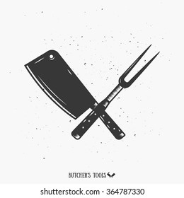 The Crossed Cutting tools, Meat Knife and Fork Tool  Monochrome Illustraton. Vintage Butcher's Tools. Template for your shop, butchery, menu, cafe, business or art works.