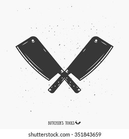 The Crossed Cutting tools Monochrome Illustration. Vintage Butcher's Tools. Template for your shop, butchery, menu, cafe, business or art works.