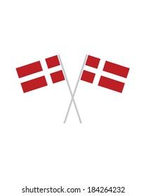 Crossed Denmark Flags - Vector