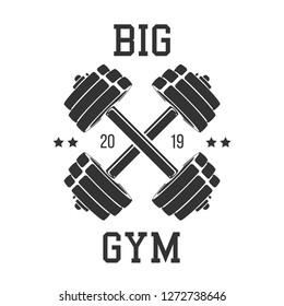 Crossed dumbbells silhouette. Template for bodybuilding and sport fitness logo, label, emblem, badge or branding design in retro, vintage style. Vector illustration.