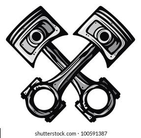 crossed engine pistons