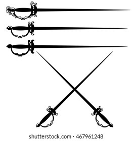 crossed epee swords black and white vector design set