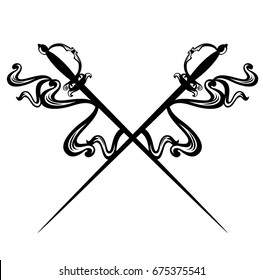 crossed epee swords and decorative ribbons - black and white vector design
