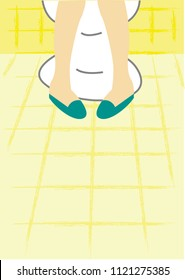A crossed feet in the lavatory which seems in an uncomfortable mode concept. Editable Clip Art.