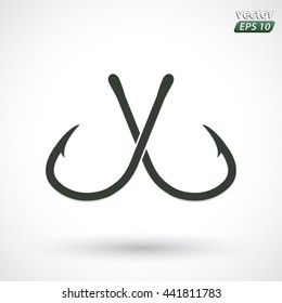 crossed fishing hooks symbol / vector illustration