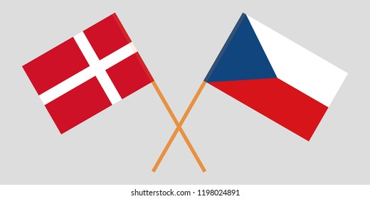 Crossed  flags of Czech Republic and Denmark. Official colors. Correct proportion. Vector illustration