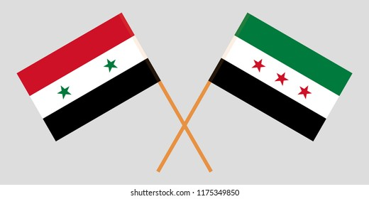 Crossed flags of Syrian Arab Republic and Syrian National Coalition. Official colors. Correct proportion. Vector illustration