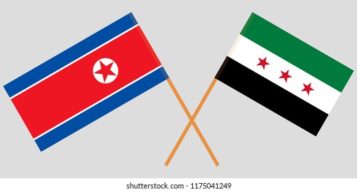 Crossed flags of Syrian National Coalition and North Korea. Official colors. Correct proportion. Vector illustration
