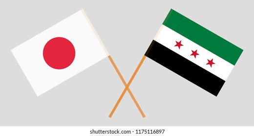 Crossed flags of Syrian National Coalition and Japan. Official colors. Correct proportion. Vector illustration