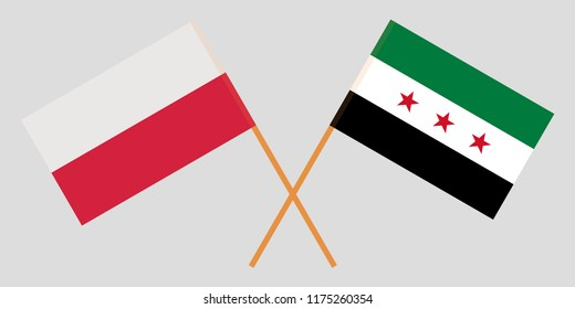 Crossed flags of Syrian National Coalition and Poland. Official colors. Correct proportion. Vector illustration