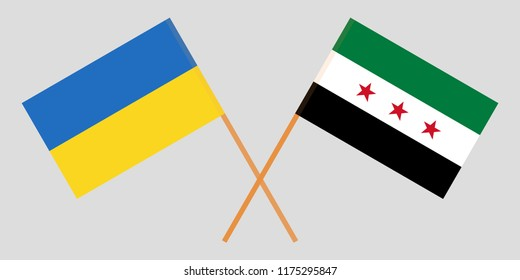 Crossed flags of Syrian National Coalition and Ukraine. Official colors. Correct proportion. Vector illustration