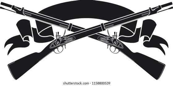 crossed flintlock muskets over banner
