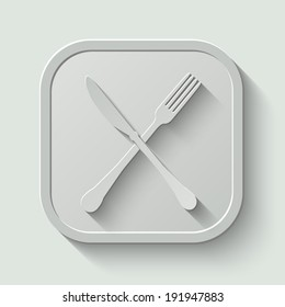 crossed fork and knife vector icon - paper button with shadow on light background