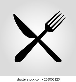 crossed fork over knife - illustration