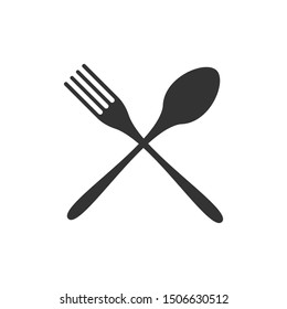 Crossed fork and spoon black icon silhouette isolated on white background. Vector illustration