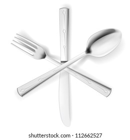 Crossed fork, spoon and knife. Illustration on white