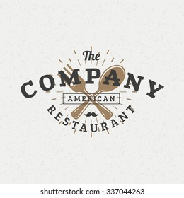 Crossed Fork and Spoon. Vintage Retro Design Elements for Logotype, Insignia, Badge, Label. Business Sign Template. Textured Background