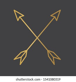 crossed, golden bow arrows icon- vector illustration