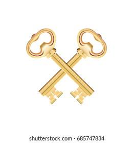 Crossed Golden Keys isolated on white Background. Vector illustration
