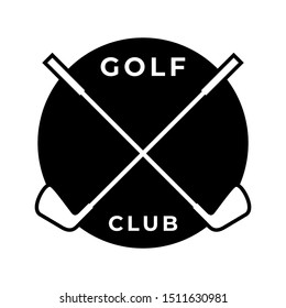 Crossed Golf Club Vector Icon Logo Template Isolated on White Background