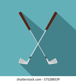 Crossed golf clubs icon. Flat illustration of crossed golf clubs vector icon for web   on baby blue background